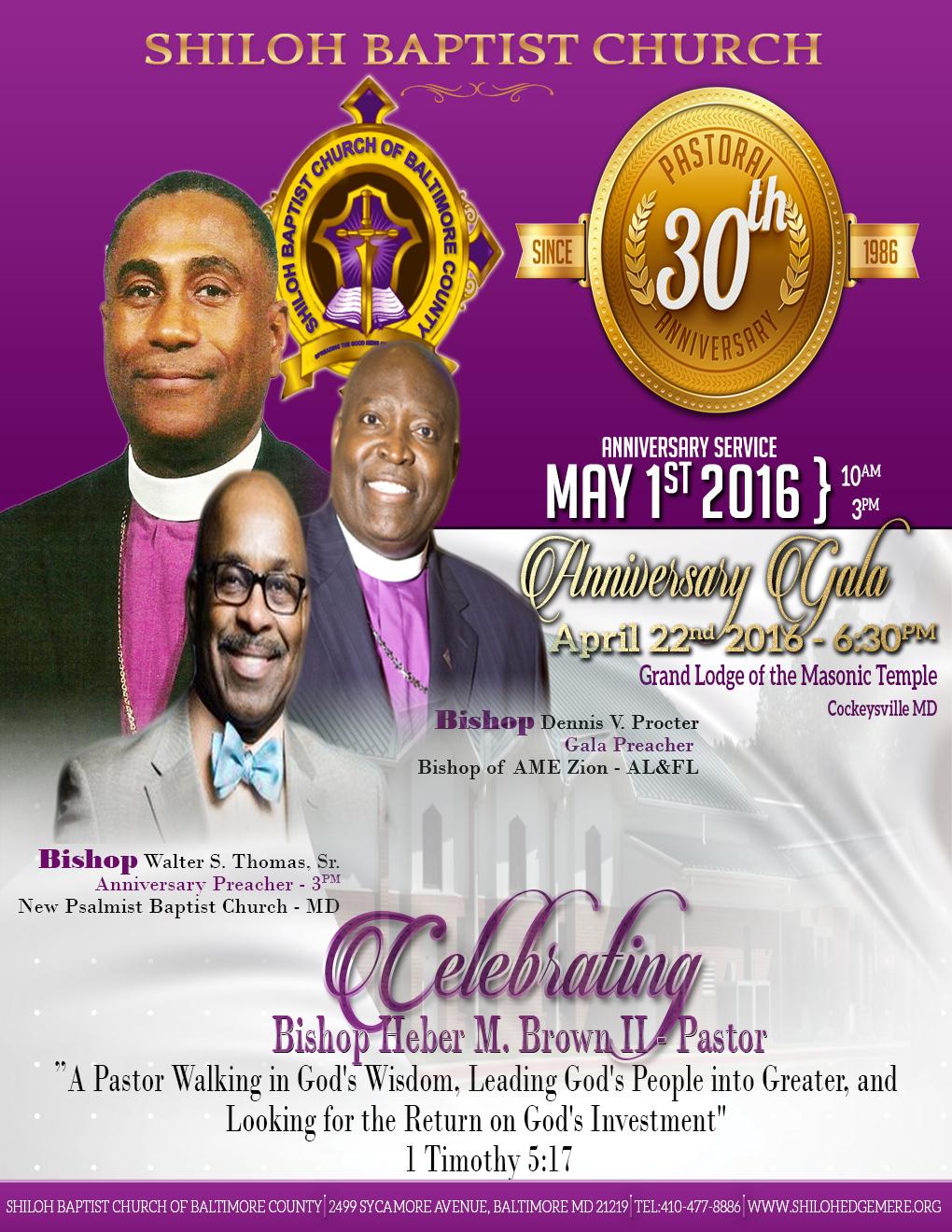 Pastor S 30th Anniversary Shiloh Baptist Church Of